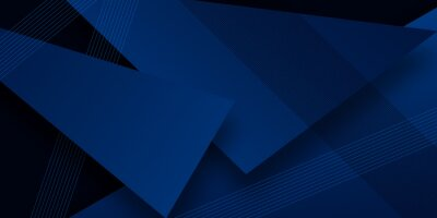 Naklejka Modern simple dark navy blue background with overlap triangle layers. Blue abstract background with blank space for text. Modern element for banner, presentation design and flyer