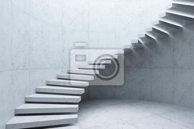 Naklejka modern staircase in concrete interior, 3d rendering