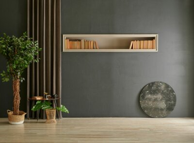 Naklejka Modern stone wall with niche book vase of plant curtain and furniture style, home design, interior decor.