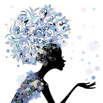 Naklejka Modna fryzura kwiat dziewczyna do projektowania