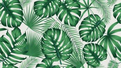 Naklejka Modny bezszwowe tropikalny wzór z egzotycznych liści i roślin dżungli