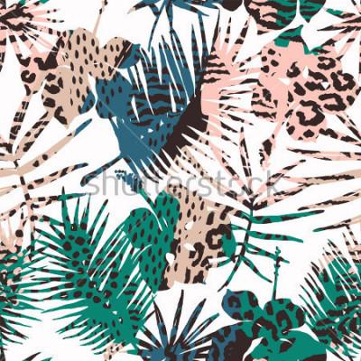 Naklejka Modny egzotyczny wzór z ręki, wydruki zwierząt i ręcznie przetworzone tekstury. Ilustracji wektorowych. Nowoczesny abstrakcyjny wzór papieru, tapety, okładki, tkaniny, wystroju wnętrz i innych użytkow