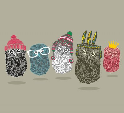 Naklejka Modny nadruk z grupy sowy dla hipster t-shirt i więcej.
