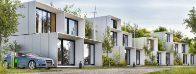Naklejka Modular houses of modern architecture and an electric car