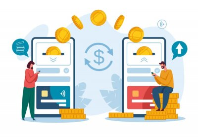 Naklejka Money transfer. Receiving payment with smartphone. Digital bank or electronic wallet phone app, mobile money transactions vector concept. Capital flow, earning or making money, wireless devices