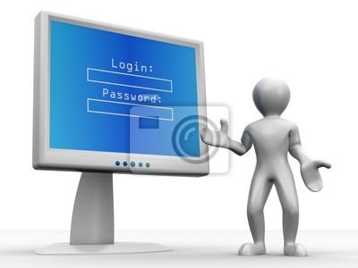 Naklejka Monitor z login i hasło
