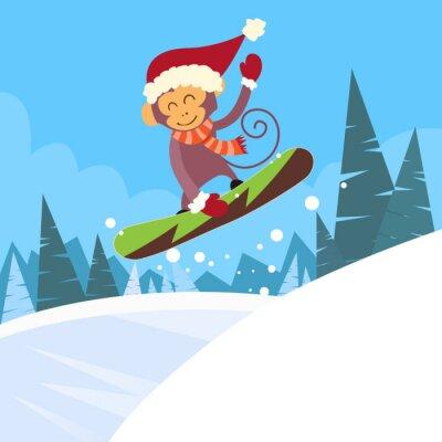 Naklejka Monkey snowboarder przesuwne dół wzgórza, Zima Banner Snowboarding