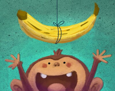 Naklejka mono y plátano