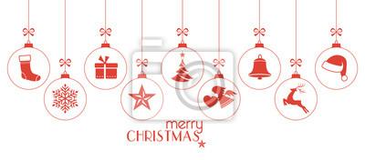 Naklejka Monochromatyczne czerwone bombki choinkowe, ozdoby świąteczne