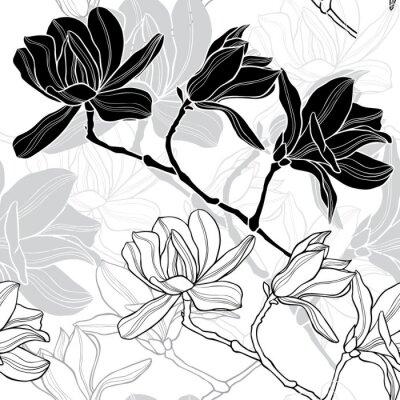 Naklejka Monochromatyczny bez szwu tła z magnolii.