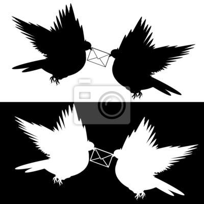 Monochromatyczny sylwetka dwóch latających gołębi z listem
