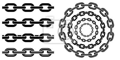 Naklejka Monochromatyczny zestaw różnych rodzajów metalowych łańcuchów w stylu sylwetki. Bezszwowy kształt, dla graficznego projekta logo, emblemat, symbol, znak, odznaka, etykietka, znaczek, odizolowywający n