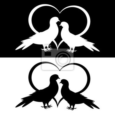 Naklejka Monochrome sylwetka dwóch gołębi i serce