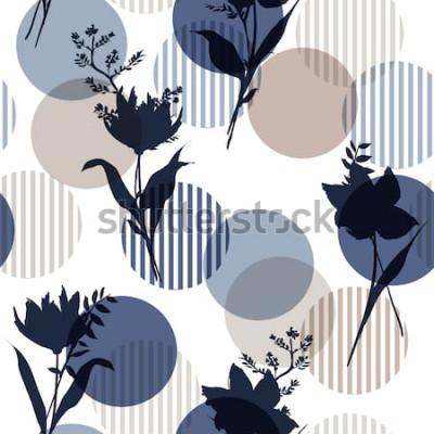 Naklejka Monotone in blue Wektor botaniczny sylwetka kwiatowy wzór bez szwu na nowoczesne kolorowe kropki w paski, delikatne tapety kwiatowe, dzikie kwiaty