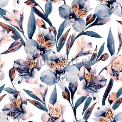 Naklejka Moody akwarela alstroemeria kwitnie bezszwowego wzór. Piękni botaniczni kwiaty, liście, pączki na białym tle. Ręcznie malowana ilustracja kwiatowa na boho, elegancka dziewczyna tekstylna, projekt nadr
