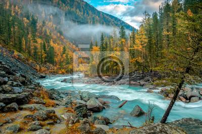 Naklejka Morning on the Akkem river in autumn
