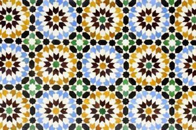 Naklejka Morrocan tradycyjna mozaika ornament z Ben Youssef Madrasa