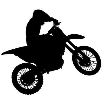 Naklejka Motocross - sylwetka z białym tle