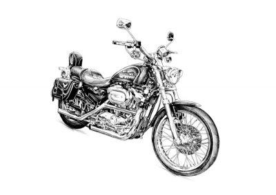 Naklejka Motocykl Llustration rysunek pojedyncze sztuki