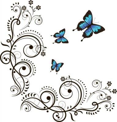 Naklejka Motyl i kwiatowy ornament
