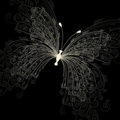 Naklejka motyl na czarnym tle
