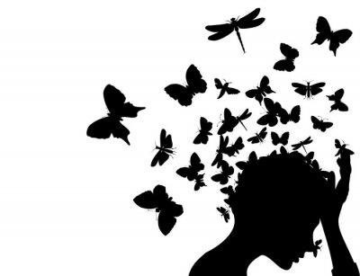 Naklejka Motyle z głową