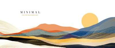 Naklejka Mountain background vector. Minimal landscape art with watercolor brush and golden line art texture. Abstract art wallpaper for prints, Art Decoration, wall arts and canvas prints.