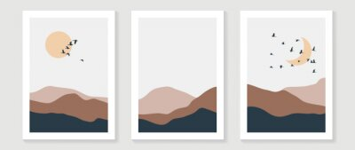Naklejka Mountain background wall art vector set. Sunrise and sunset with fog in mountains.  Earth tones landscapes abstract arts wallpaper design for wall framed prints, canvas prints, poster and home decor.