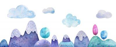 Naklejka Mountain landscape watercolor illustration on a white background. Children's card background