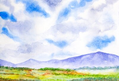 Naklejka mountain landscape with blue sky watercolor painted
