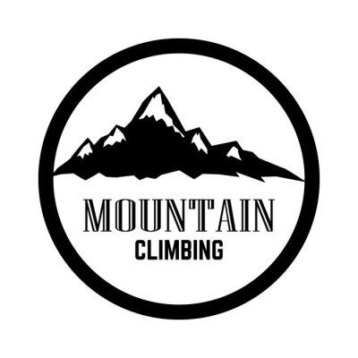 Mountain tourism emblem. Design element for logo, label, sign, poster.