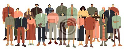 Multi ethnic people group. Multiracial student crowd, multinational young people standing together vector illustration. Male and female multicultural cartoon characters on white background