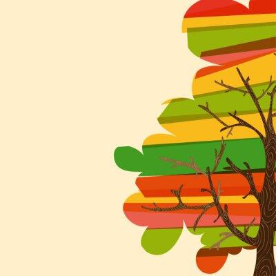 Naklejka Multicolor tle drzewa