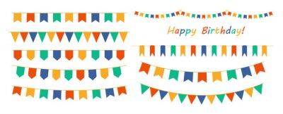 Naklejka Multicolored buntings garlands. Decoration of greetings cards, invitations.