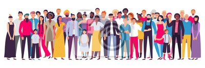 Naklejka Multiethnic group of people. Society, multicultural community portrait and citizens. Young, adult and elder people vector illustration