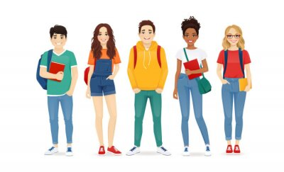 Naklejka Multiethnic young people in casual clothes with backbackpacks and books. Asian, african and caucasian students standing isolated vector illustration