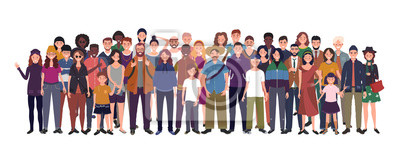 Naklejka Multinational group of people isolated on white background. Children, adults and teenagers stand together. Vector illustration