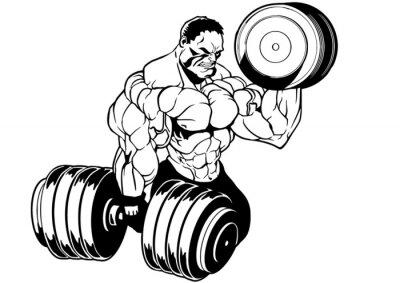 Naklejka muscular bodybuilder workout
