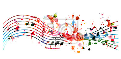 Naklejka Music background with colorful music notes vector illustration design. Artistic music festival poster, live concert events, party flyer, music notes signs and symbols