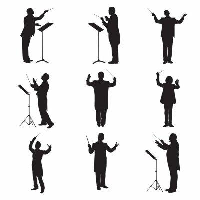 Naklejka Music Conductor Silhouettes