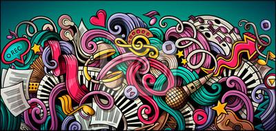 Naklejka Music hand drawn doodle banner. Cartoon detailed illustrations.