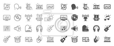 Naklejka Music line icons. Set of Acoustic guitar, Musical note, Vinyl record icons. Jazz saxophone, Drums with drumsticks, DJ controller. Sound check, Mic, Music making, Electric guitar. Musical note. Vector