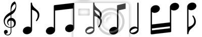 Naklejka Music notes icons set. Black notes symbol on white background - stock vector.