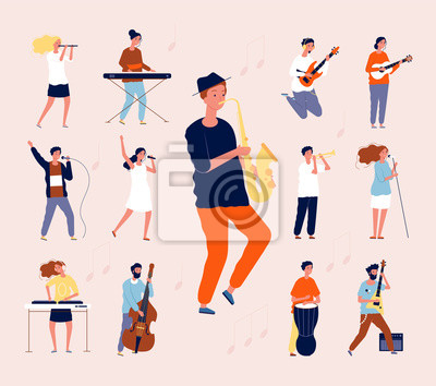 Naklejka Music persons. Rock classical musical performing musicians singing and playing orchestra instruments guitar drum violin vector flat. Illustration music concert, musician with guitar instrument
