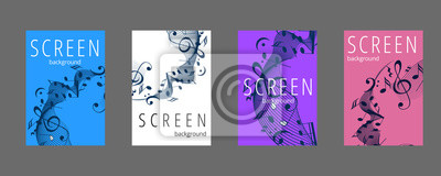 Naklejka Musical banner set with colored key notes. Abstract music background. Vector paper illustration.