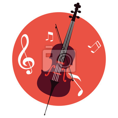 Naklejka musical cello on note background