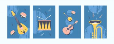 Naklejka Musical instruments illustrations set in pastel colors. Collection of art posters in retro style. Guitar, drum, tambourine, pipe on blue background. Art concept for banners, website design