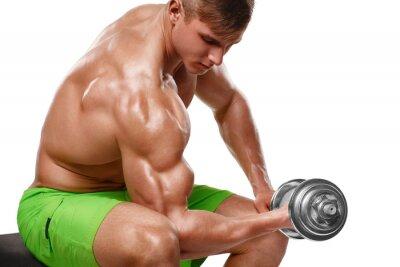 Naklejka Muskularny mężczyzna pracuje obecnie robi ćwiczenia z hantlami na biceps, silny mężczyzna nagi tors, odizolowane na białym tle