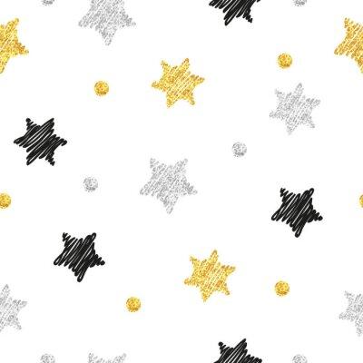 Naklejka Musujące gwiazd szwu. Wektor tła z doodle czerni, srebra i złota gwiazd i kropek na białym.