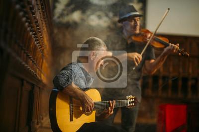 Naklejka Muzycy występując z gitarą i vionin.